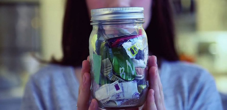 Mason jar of trash